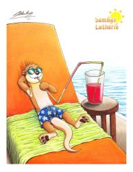 Luther Lutharie relaxing at swim pool (scanned) by SAGADreams