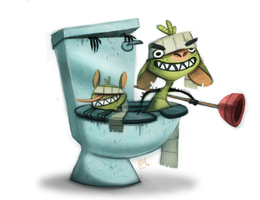 Daily Painting 722# Toilet ninja trolls by Cryptid-Creations