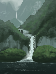 Landscape Speedpaint - Waterfall by Kyie27