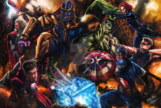 The Avengers VS Thanos by Glebe by Twynsunz