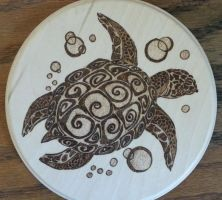 Woodburning - Tribal Sea Turtle by Stepher17