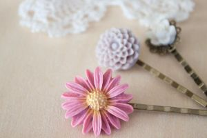 Beautiful Flower Hair Pin Set by YourSweetTreat