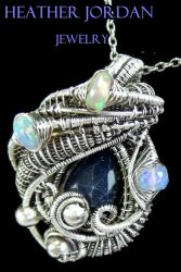 Blue Sapphire Wire-Wrapped Pendant in SS with Opal by HeatherJordanJewelry