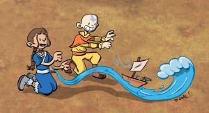 Aang and Katara ship sets sail by yaytime