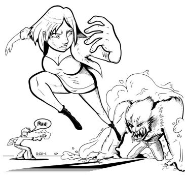 Escaped Monster inks by GeorgeRottkamp