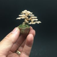 Gold mini wire bonsai tree by Ken To by KenToArt