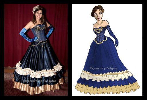 Steampunk Masquerade Gown- Rendering and Final by Caliypsoe