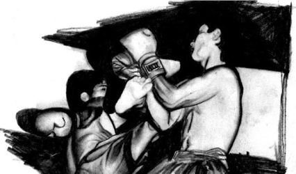 Thai boxing drawing by ProfessorPicasso