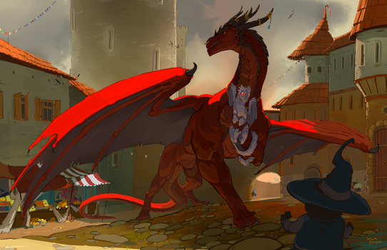 DRAGON IN MAGES TOWN by arucarrd