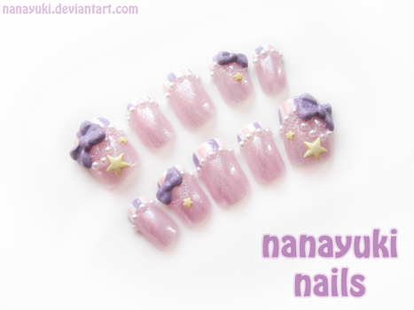 Pearls and Star nails (purple ver) by Nanayuki