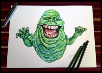 Slimer -Ghostbuster (speed painting - pancil)   Al by AlessandroConti