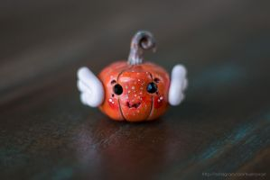 Angelic pumpkin figurine, polymer clay by NoirArt