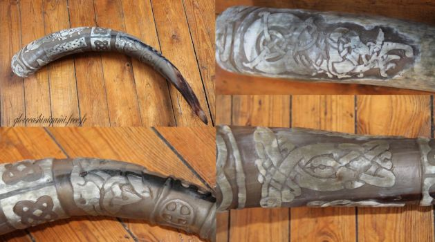 Celtic drinking horn by GreatShinigami