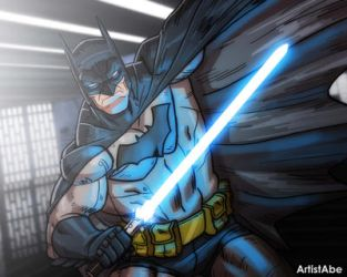Batman with a Lightsaber by ArtistAbe