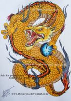Golden Dragon tattoo by TheKarelia