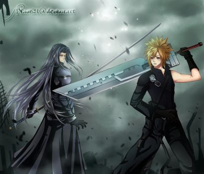 Commission 2 Cloud Strife Vs Seperoth by naoi21