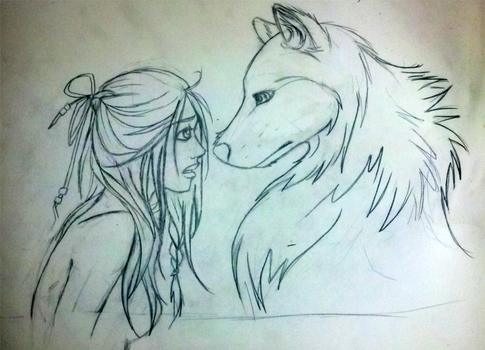 Wolf + girl sketch by Astonishingly