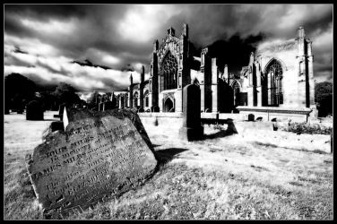 Melrose Abbey gleaming in infrared by LordLJCornellPhotos