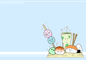 .: Japanese foods wallpaper :. by Chazx3