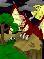 Dragon and Cow by kingkill666
