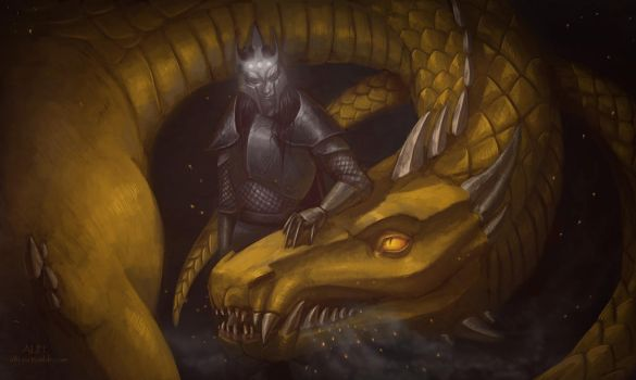 Melkor And Glaurung by AlyonaDF
