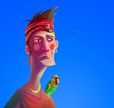 The pirate a parrot and flies by ReneBlom