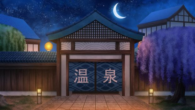 Onsen bath entrance at night  - visual novel BG by gin-1994