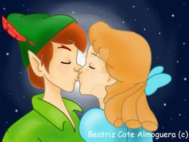 Peter pan and Wendy Kiss by beatrizcote