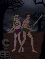 Taran and Eilonwy in the Dark World by streetgals9000