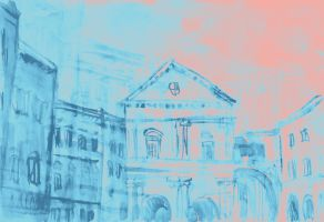 Colorful watercolor of classical buildings by oanaunciuleanu