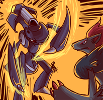 Art Trade: Genesect vs Zoroark
