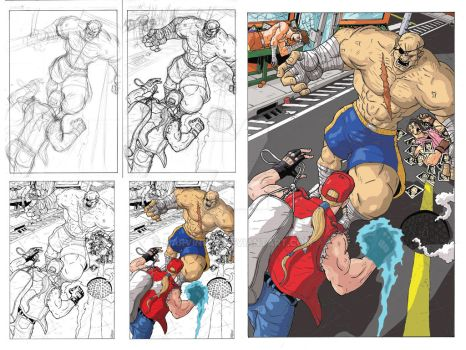Sagat vs Terry pin up with process images by Marvin000