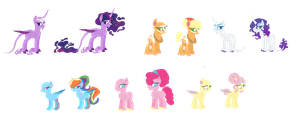 Mane 6 Redesign by AonairFaol