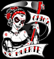 Chica De Muerte BW Red Bust by rawjawbone