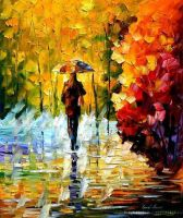 Under Fall Umbrella by Leonid Afremov by Leonidafremov