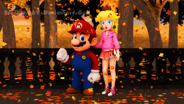 Mario and Peach: Autumn Morning by BradMan267