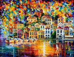 Dream harbor by Leonid Afremov by Leonidafremov