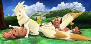 Ninetails And Vulpix Pups by OwlVortex