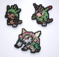 Pokemon Sprite Stitches - Chespin Family