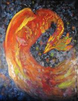 Red Phoenix Pheonix Bird Firebird Yellow fish by StephanieSmall