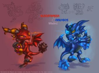 Alexstrasza and Malygos whelps by The-SixthLeafClover