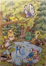 Cute pokemon in a forest by Pikabulbachu