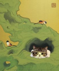 Cat in Taihu Rock by Wolfberry-J