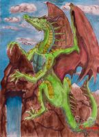 Fast watercolour dragon by Grenyol