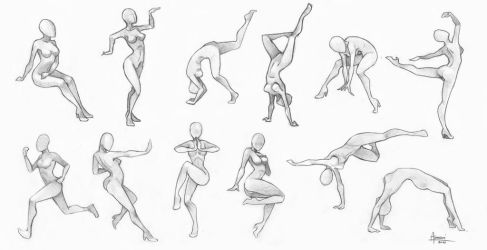 Exercises - poses chart by AonikaArt