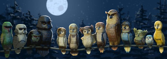 Star Owls by AndrewMcIntoshArt