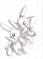Plusle and Minun by Open-your-Heart