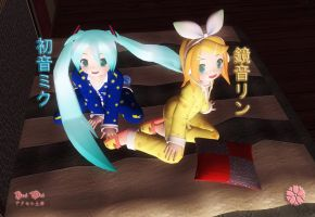 Miku and Rin: Slumber Party by Axel-Doi