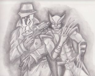 Rorschach and Wolverine by Sciggles