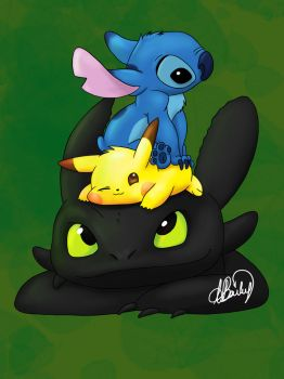 Pikachu, stitch and toothless by MindyBailey